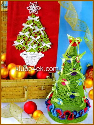 новогодняя открытка вязаная крючком и елка вязаная крючком