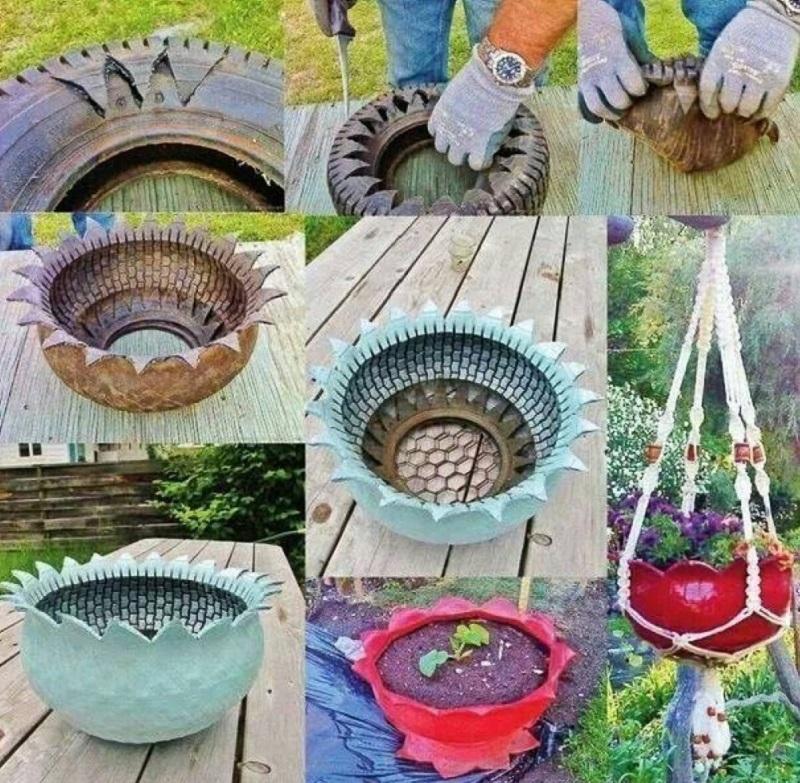 Как сделать своими руками вазоны из шин