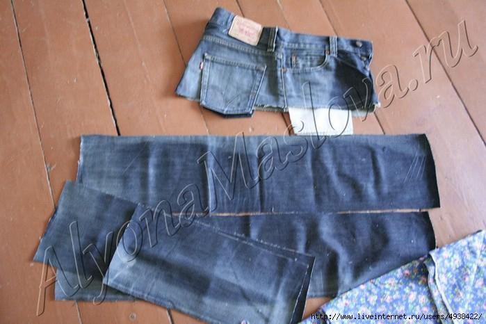 6e5926f3fb7d0 У нас в итоге получается 4 полоски джинса и кокетка. Чтобы юбка выглядела  оригинальной, вместе с джинсом можно использовать другую ткань, например  ситец.