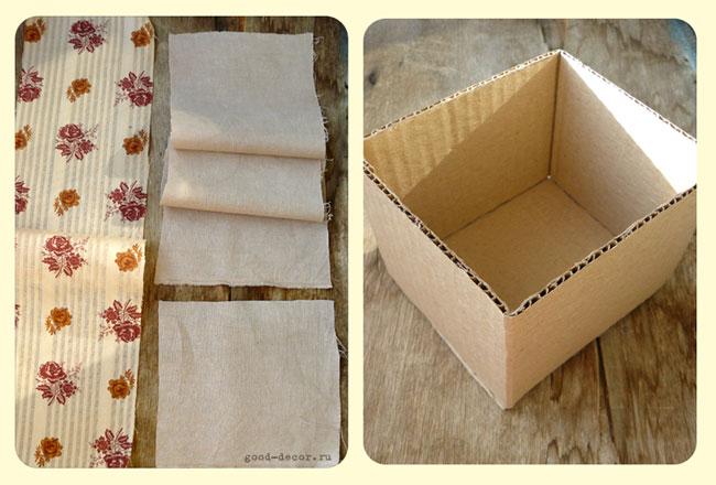 Обтянуть коробки тканью своими руками