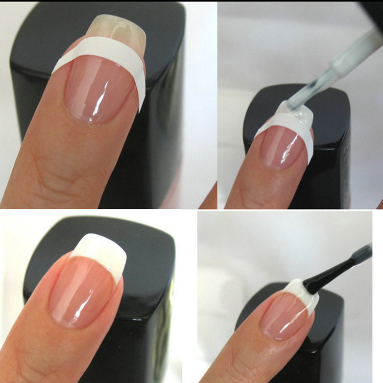Как сделать френч с трафаретами шеллаком