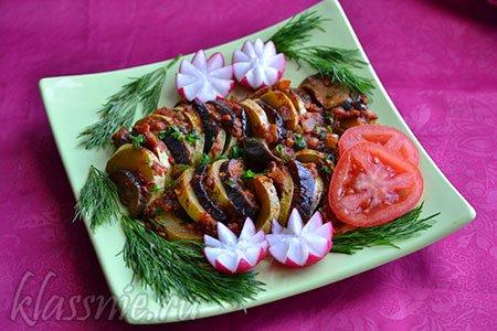 Баклажаны с овощами запеченные в духовке рецепт с пошагово 2