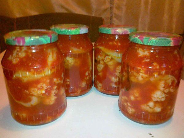 рецепт цветной капусты в томатной пасте на зиму в банках