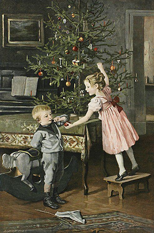 Ретро открытки с елкой, лошара картинки