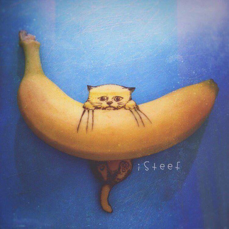 Смешные рисунки на банане, годик детские