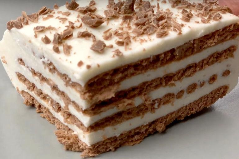 десерт без выпечки из печенья и творога