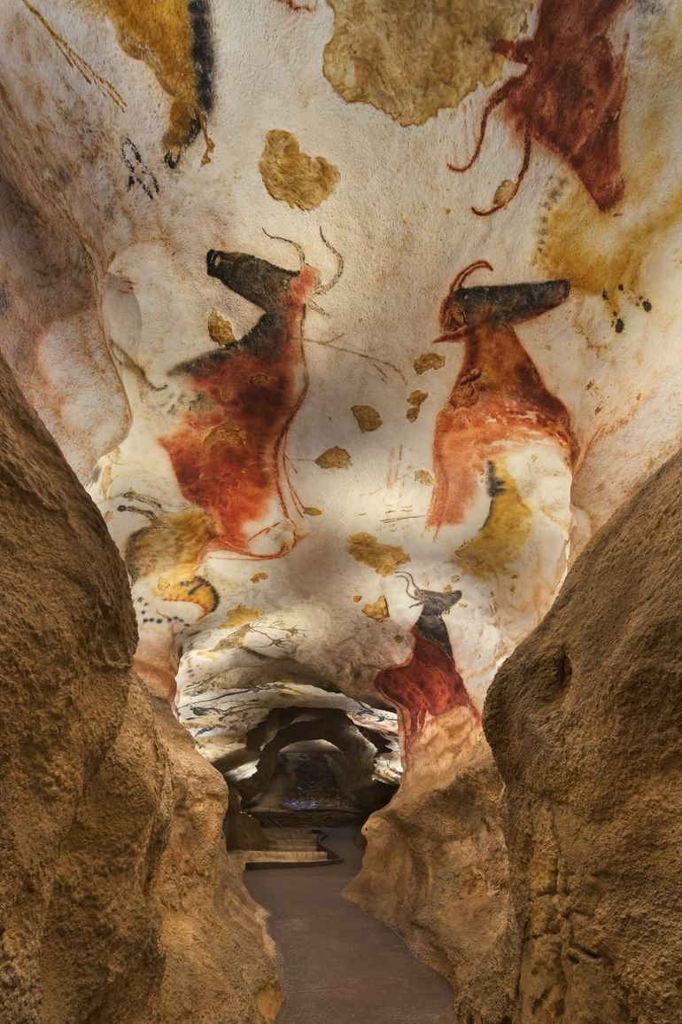 lascaux cave Lascaux cave painting with mountain bikers and a deer-headed shaman mountain biker, and an american bison, which wouldn't really be in a european cave painting.