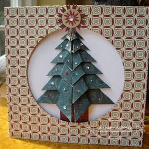 Открытки ручной, открытка елочка новогодняя оригами