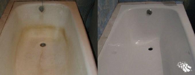 Как очистить акриловую ванну от желтых пятен фото